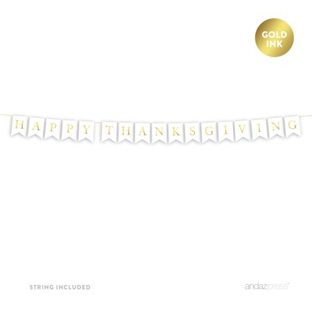 Happy Thanksgiving! Gold Ink Pennant Party Banner - Happy Thanksgiving Banners