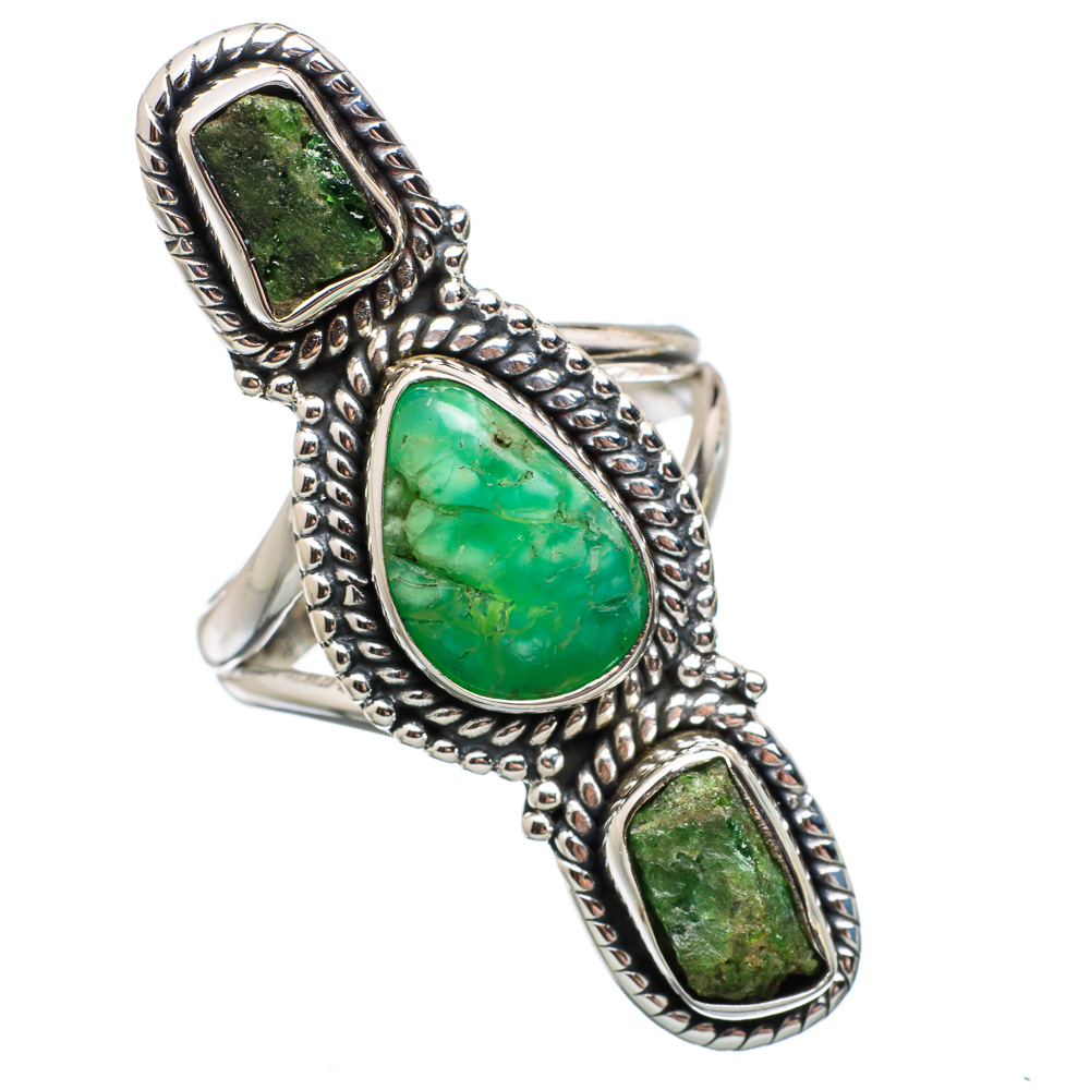 Ana Silver Co Chrysoprase, Chrome Diopside 925 Sterling Silver Ring Size 6.25 Handmade Jewelry RING837601 by Ana Silver Co.