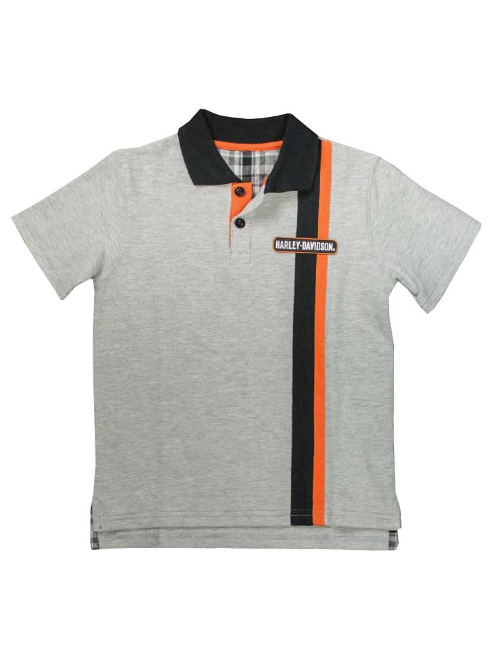 Harley-Davidson Little Boys' Bar & Shield Short Sleeve Pique Polo, Gray 1081637, Harley Davidson