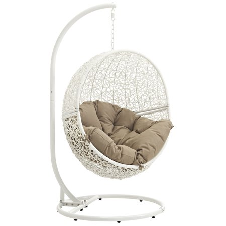 Superb Modern Contemporary Urban Design Outdoor Patio Balcony Swing Chair Brown White Rattan Onthecornerstone Fun Painted Chair Ideas Images Onthecornerstoneorg