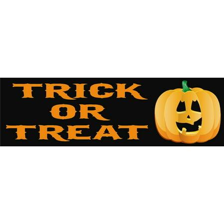 10in x 3in Trick or Treat Halloween Bumper Sticker Decal Car Window Stickers Decals