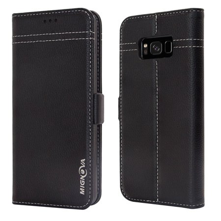 hot sale online 5c619 fcd5b Galaxy s8 Case, Mignova Galaxy S8 Wallet Case Genuine Premium Leather Case  (Magnetic Closure) (Card Holder) with Stand Flip for Samsung Galaxy S8 ...