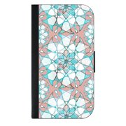 Grungy Geometric Flowers Print - Wallet Style Phone Case with 2 Card Slots Compatible with the Samsung Galaxy s4 Universal