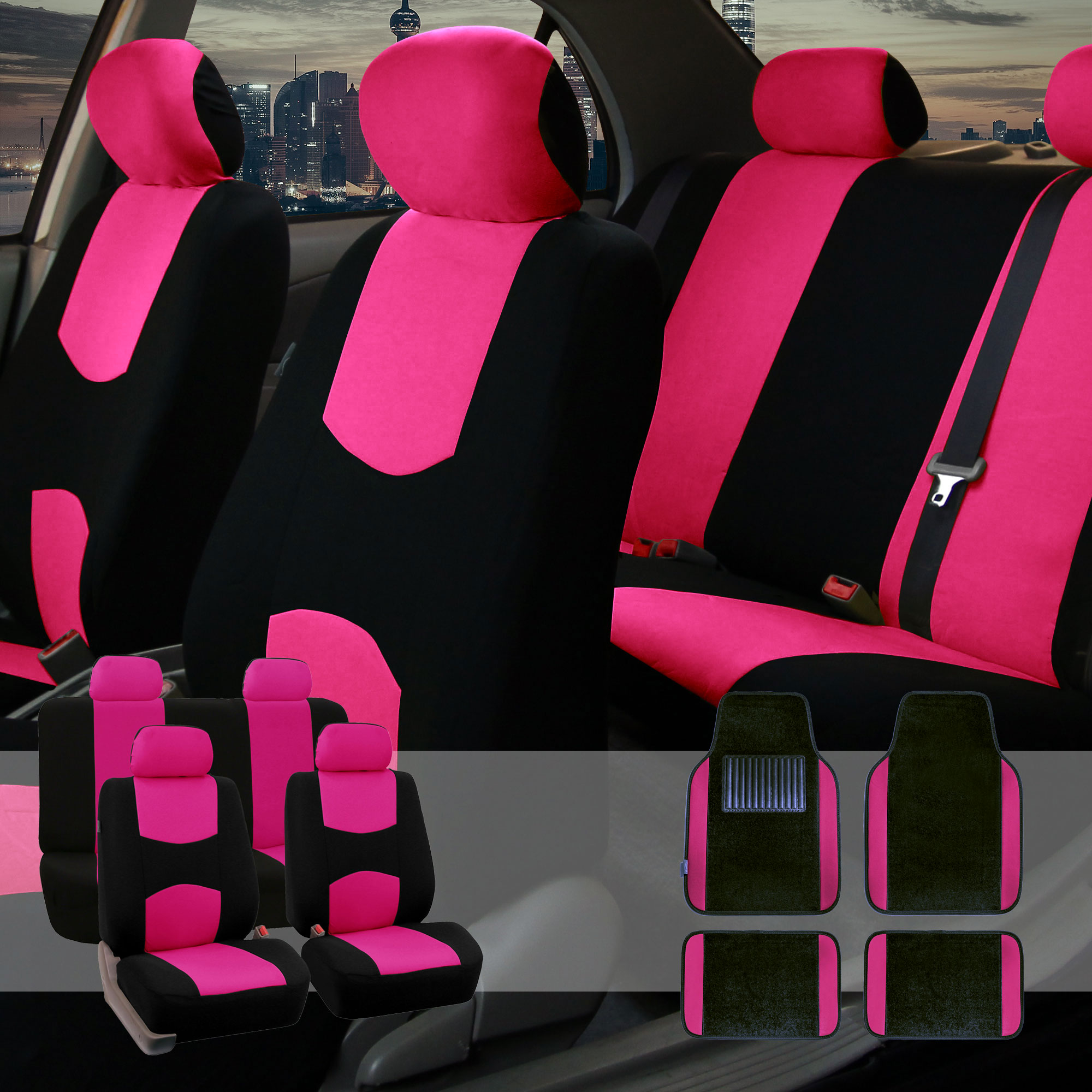Car Seat Covers Set For Auto 4 Headrests Black Pink With Carpet