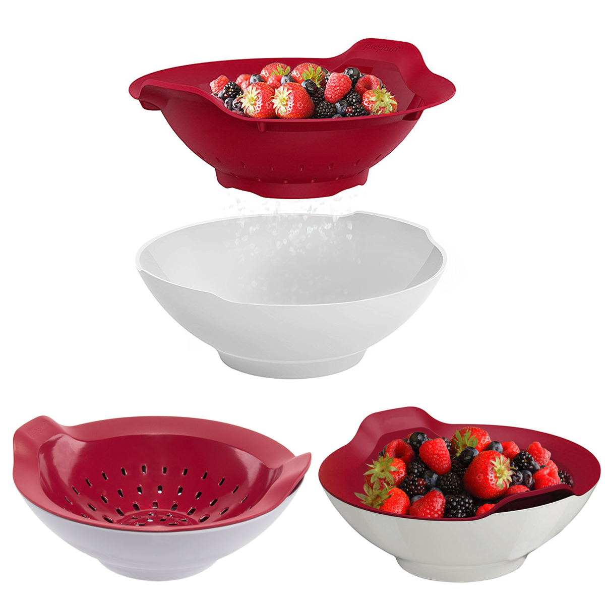 Prepara (3 Pack) 2pc Fresh Berry Colander Sets Plastic Strainer Basket & Serving Bowl