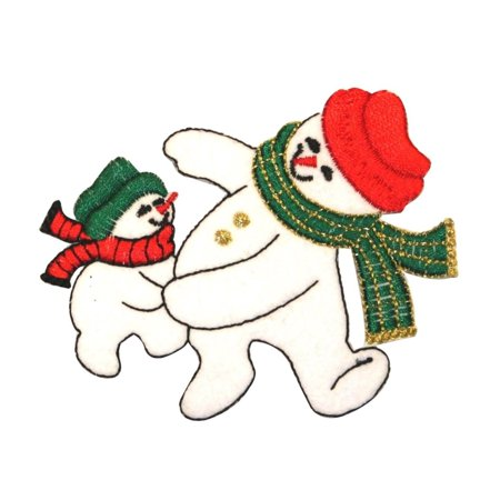 ID 8004 Snowmen Dancing Patch Snow Man Winter Scarf Embroidered Iron On - Dance Scarves