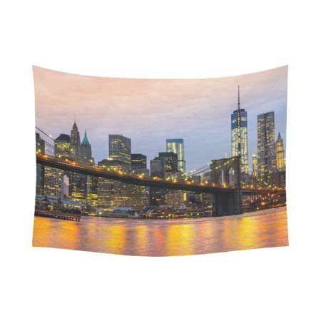 GCKG NYC New York City Skyline Tapestry Wall Hanging Cityscape Brooklyn Bridge Sunset Wall Decor Art for Living Room Bedroom Dorm Cotton Linen Decoration 80 x 60 Inches