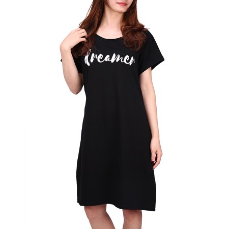 HDE Women's Sleep Shirt Dress Short Sleeve Nightgown Pajama Oversized Nightshirt (Dreamer, L/XL)