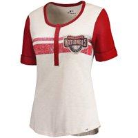 Washington Nationals Fanatics Branded Women's True Classics Henley T-Shirt - Cream/Red