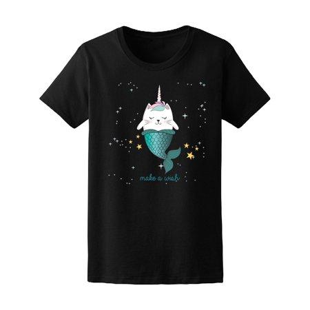 Fun Magic Cat Unicorn Mermaid Tee Women's -Image by (Mermaid Cat)