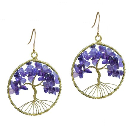 Eternal Tree of Life Purple Fluorite Branch Brass Dangle