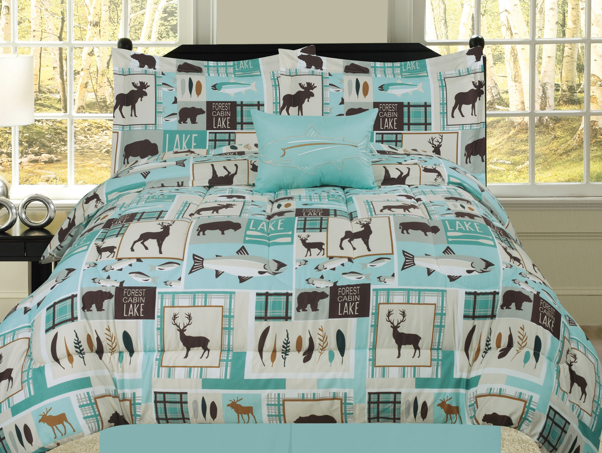 Queen Fishing Lakehouse Cabin Lodge Comforter Bedding Set Bear Fish Deer Rustic Brown Blue And Teal Walmart Com Walmart Com