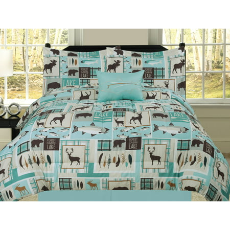 King Fishing Lakehouse Cabin Lodge Comforter Bedding Set Bear Fish Deer Rustic, Brown Blue and Teal ()