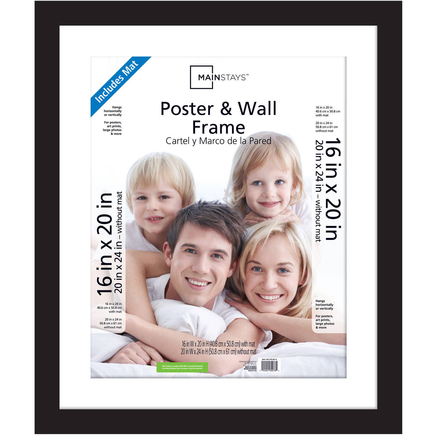 mainstays 20x24 matted to 16x20 wide gallery poster and picture frame black walmartcom