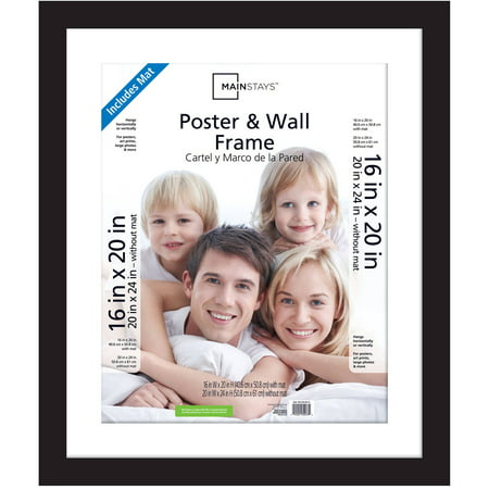 Mainstays 20x24 Matted to 16x20 Wide Gallery Poster and Picture Frame, Black (Sitting 16x20 Photo)