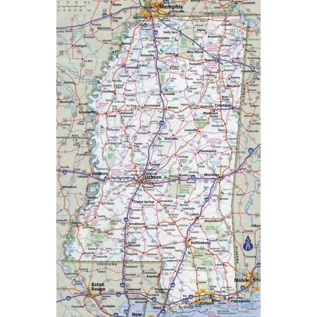 Laminated Map - Large detailed roads and highways map of Mississippi state with all cities Poster 24 x -