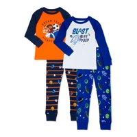4 Piece Wonder Nation Baby Boys & Toddler Boys Snug Fit Cotton Long Sleeve Pajamas (Blue Space/Orange Sports)