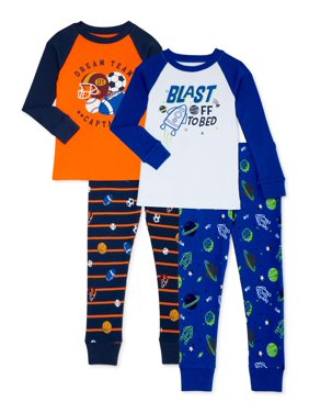 Wonder Nation Baby Boys & Toddler Boys Snug Fit Cotton Long Sleeve Pajamas, 4-Piece PJ Set (12M-5T)