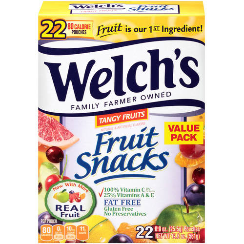 Welch's Tangy Fruits Fat Free 80 Calorie Fruit Snacks Pouches, .9 oz, 22ct