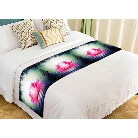 GCKG Lotus Flower in Tranquil Zen Garden Bed Runners Scarves Bed Decoration 20x95 inch - Lotus Flower Bead