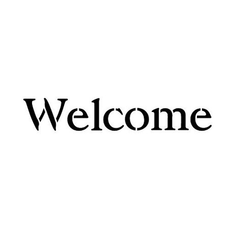 Welcome Stencil by StudioR12 | Simple Vintage Serif Word Art - Mini 7 x 2-inch Reusable Mylar Template | Painting, Chalk, Mixed Media | Use for Journaling, DIY Home Decor - Original Mini Painting