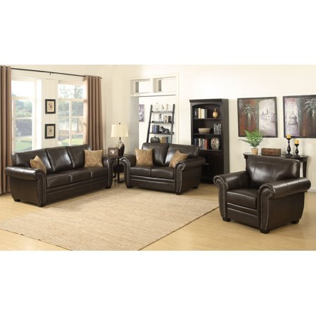 Louis Collection Traditional 3-Piece Upholstered Leather Living Room Set with Sofa, Loveseat, Arm Chair, and 4 Accent Pillows, Brown Brown Leather Pillow Top Sofa