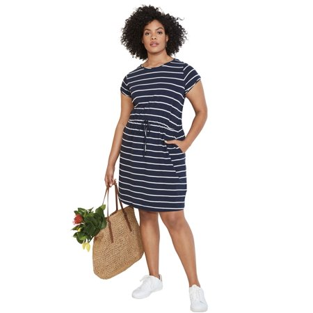 fe953a4930f Ellos - Plus Size Knit Drawstring Dress - Walmart.com