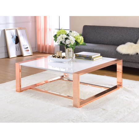 Charming coffee table white high gloss copper - How high should a coffee table be ...