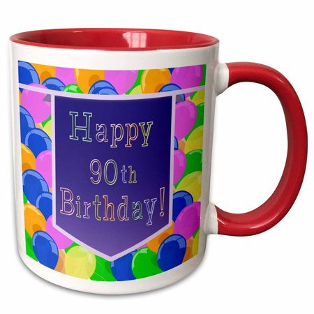 3dRose Balloons with Purple Banner Happy 90th Birthday - Two Tone Red Mug, 11-ounce](90th Birthday Balloons)