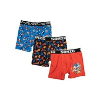 Sonic Hedgehog Boy's Underwear, 3 Pack Underoos Poly Boxer Brief (Little Boys & Big Boys)