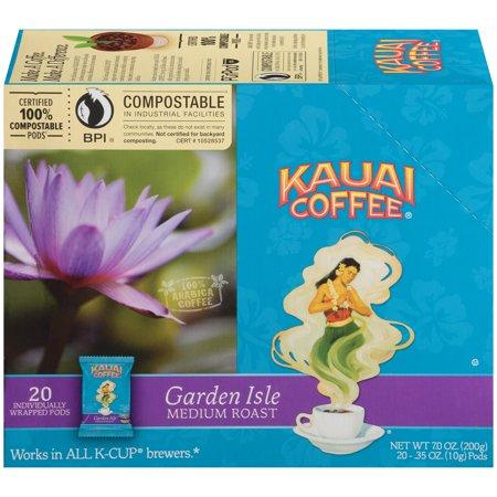Kauai Coffee Garden Isle Hawaiian K-Cup Coffee Pods, Medium Roast, 20 Count Box