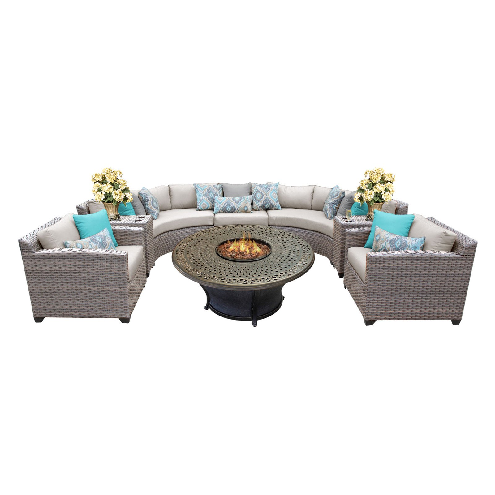 TK Classics Florence Wicker Sectional Patio Set with Charleston Fire Pit
