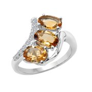 Sterling Silver Citrine and White Topaz Ring Size: 6, Color: Yellow