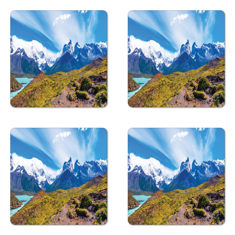 Landscape Coaster Set Of 4 Lake Pehoe Torres Del Paine National Park Patagonia Chile Square Hardboard Gloss Coasters Standard Size Dark Khaki Azure Blue By Ambesonne Walmart Com Walmart Com