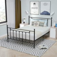 mecor 12.6 Inch Full Metal Bed Frame with Victorian Headboard Footboard/Metal Platform Mattress Foundation for Kids Girls Boys Adults/No Box Spring Needed/Black,Full