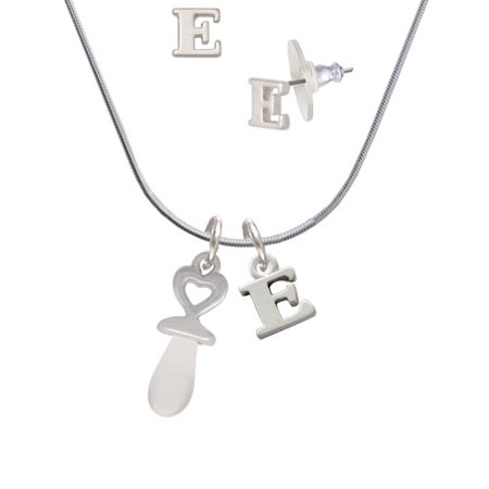 Pacifier Charm Jewelry - 3-D Clear Frosted Baby Pacifier - E Initial Charm Necklace and Stud Earrings Jewelry Set