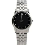 Movado Museum Quartz Black Dial Silver Stainless Steel Ladies Watch