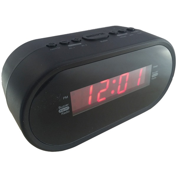 "Sylvania SCR1221 0.6"" Digital Alarm Clock Radio"