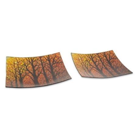 Set of 2 Orange and Black Woodland Autumn Harvest Glass Platters (Orange Harvest)