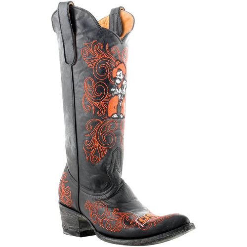 """Women's Black Oklahoma State Cowboys 13"""" Embroidered Boots by"""