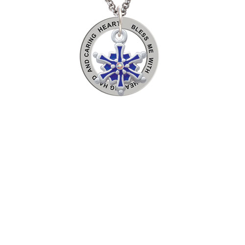 3-D Blue Snowflake with AB Crystal Bless Me with a Healing Hand Affirmation Ring Necklace
