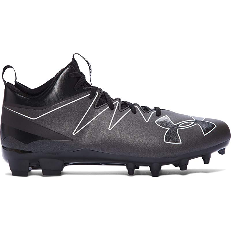 Under Armour Mens UA Nitro Icon Mid MC Football Cleats Silver Black 10 11 12 NEW