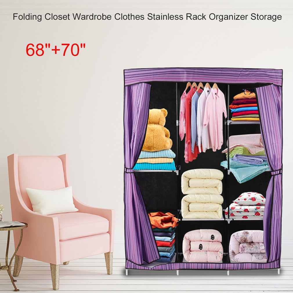 Simple Design 68 Inch +70 Inch Folding Closet Wardrobe Clothes Stainless Rack Organizer Storage Wardrobe Cabinets on sale