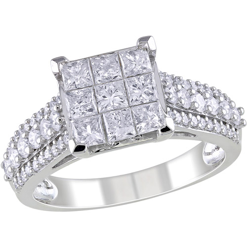 Miabella 1-1/2 Carat T.W. Princess and Round-Cut Diamond Engagement Ring in 10kt White Gold