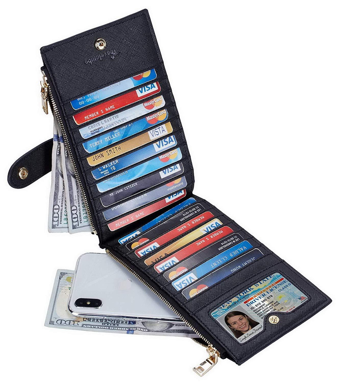 Travelambo Womens Walllet RFID Blocking Bifold Multi Card Case Wallet NEW