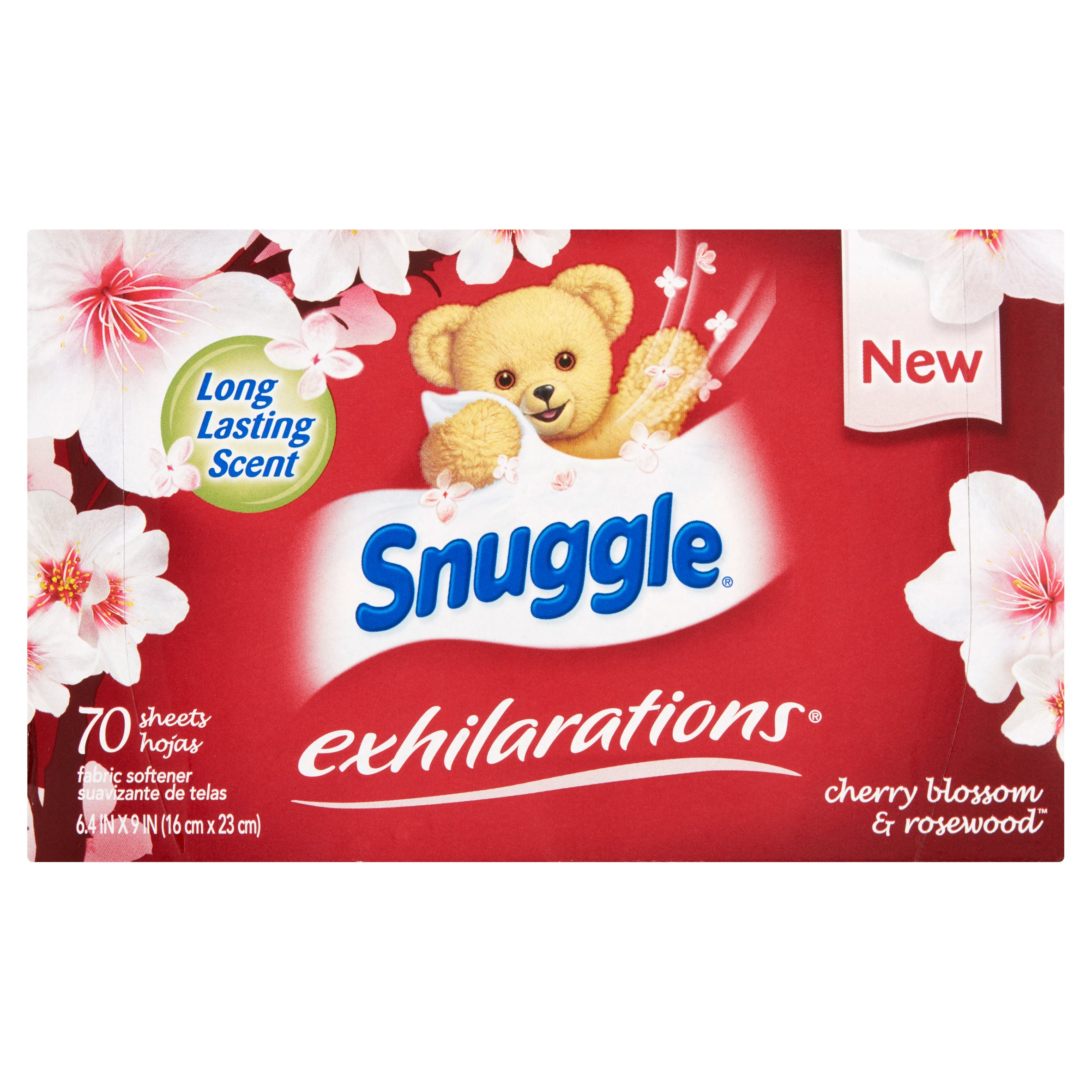 Snuggle Exhilarations Cherry Blossom & Rosewood Fabric Softener Sheets, 70 sheets