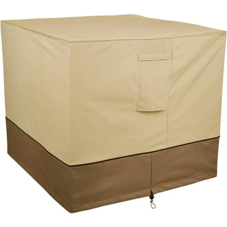 "Classic Accessories Veranda™ Square Air Conditioner Cover - Water Resistant Outdoor Cover, 34""L x 34""W x 30""H, Pebble"