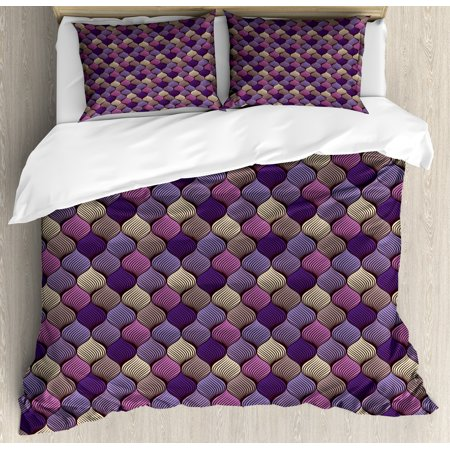 Colorful King Size Duvet Cover Set, Abstract Braid Design in Purple and Beige Shades Intricate Curves and Lines Doodle, Decorative 3 Piece Bedding Set with 2 Pillow Shams, Multicolor, by Ambesonne