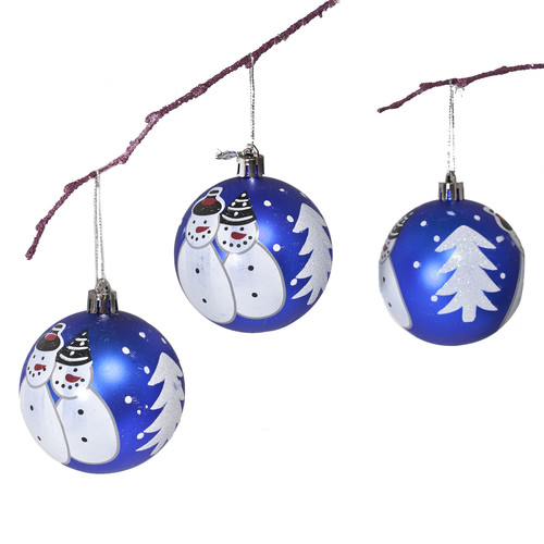 Perfect Holiday 2.75'' Shatterproof Handpainted Snowman Christmas Ball Ornament (Set of 3)