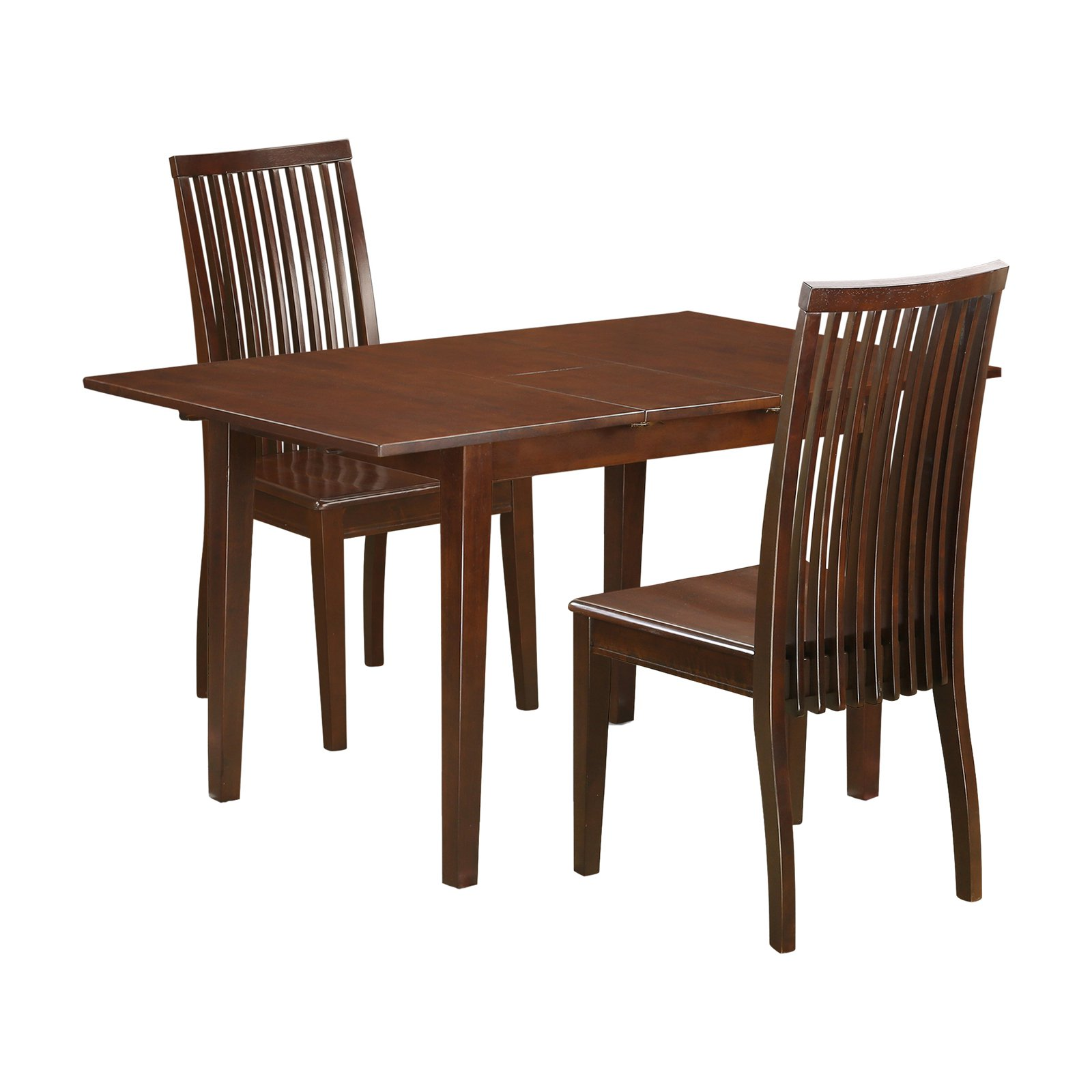 East West Furniture 3 Piece Norfolk Dining Table Set with Wood Seat